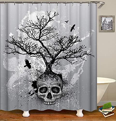 Kråkan för svart skräck för skräckskalle på grå vit bakgrund. Miljöskydd HD vattentät och avtagbar duschdraperi