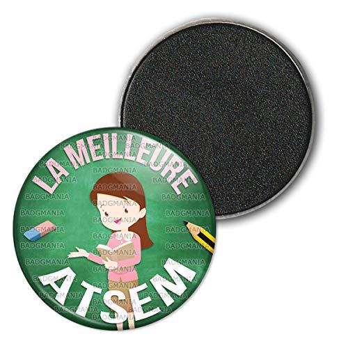 Badgmania Magnet Aimant Frigo 3.8cm La Meilleure Atsem - Gomme Crayon Fond Vert - Ecole