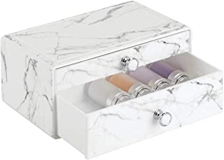 mDesign Decorative Wide Plastic Makeup Organizer Storage Station with 2 Drawers for Bathroom Vanity, Countertop, Cabinet - Holds Lip Gloss, Eyeshadow Palettes, Brushes, Blush, Mascara - Marble