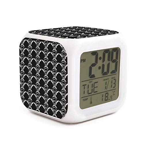 IWFWNK Unisex LED Digital Alarm Clock,Chef Hat Knives Creative Desk Table Clock Night Glowing 7 Colors Clock Electronic for Bedroom- Best Gift for Kids