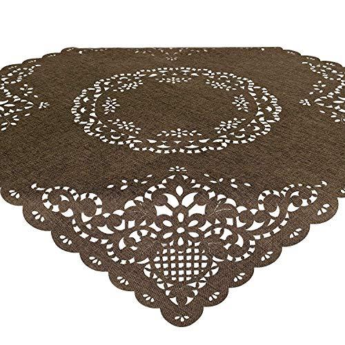 Tischdecke Bella, 85x85 cm, braun, Moderne Mitteldecke mit Lasercut