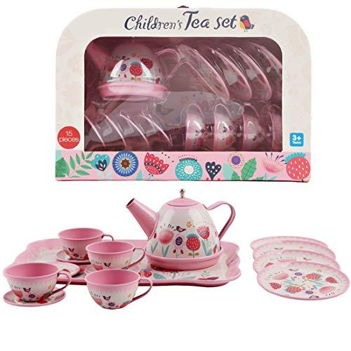 deAO Set da tè in Valigetta Portatile Set di 14 Pezzi per Bambini Include Teiera, Piatti e Tazze Progettazione Metallico Gioco d'Imitazione Valigia da Picnic (Rosa)
