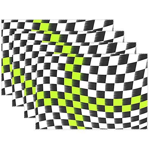 Set de Drapeaux à Damier 12 x 18 po (30 * 45 cm), Tapis de Table résistants aux Taches et à la Chaleur, Jardin de Cuisine, Ensemble de 4
