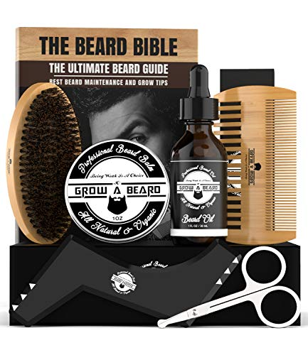 Beard Brush Grooming Kit for Men w/Growth Oil, Sandalwood Balm, Wooden Comb, Shaping Tool, Mustache Trimming Scissors, Boar Bristle Brush, & Beard E-Book, Great Care Gifts for Men
