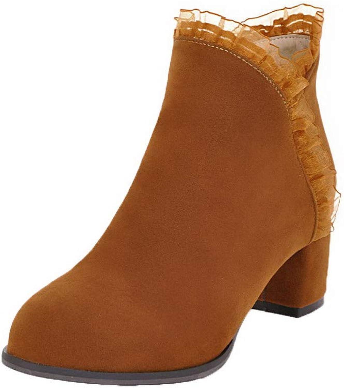 AllhqFashion Women's Kitten-Heels Solid Closed-Toe Frosted Zipper Boots, FBUXD134919