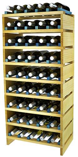 Expovinalia EX2745 wijnrek stapelbaar voor 45 flessen, grenen en blauw, 49 x 32 x 90 cm