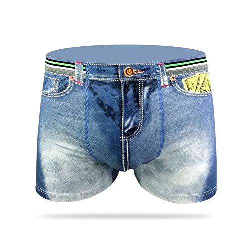 Weaton 3er-Pack, Herrenunterwäsche, Baumwolldenim mit USD-Aufdruck U-Clallow-Boxer, Bikinis, Boxershorts, Boxer, Slips, G-Strings & Thongs, Weicher, bequemer, atmungsaktiver Sport