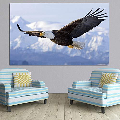 Preisvergleich Produktbild XuFan Tiere Plakate und Drucke Eagle Decor Leinwand Bilder für Wohnzimmer Eagle Gemälde Wandkunst Quadros Decoracion 60x90cm Kein Rahmen