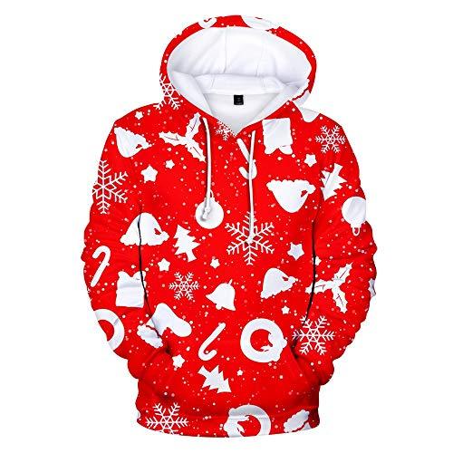 VEMOW Damen 3D Druck Sweatshirts mit Kapuzen Weihnachten Hoodie Pullover mit Cartoon Aufdruck Kapuzenjacke Langarm Top Kapuzenpullover(Rot_2,S)