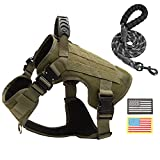PINA Tactical Dog Harness for Large Dogs, No Pull Service Dog Vest Harness for Training Hunting Walking, Dog Military Harness Molle Vest with Patches - Army Green / L