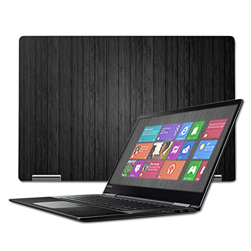 """MightySkins Skin Compatible with Lenovo Yoga 710 15.6"""" - Black Wood   Protective, Durable, and Unique Vinyl Decal wrap Cover   Easy to Apply, Remove, and Change Styles   Made in The USA"""
