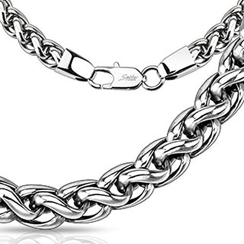 Bungsa® Halskette Silber Glieder verworren Edelstahl für Damen und Herren 4mm breit / 62 cm lang (Edelstahlkette Damenkette Herrenkette Necklace Herren Frauen Männer Schmuck)