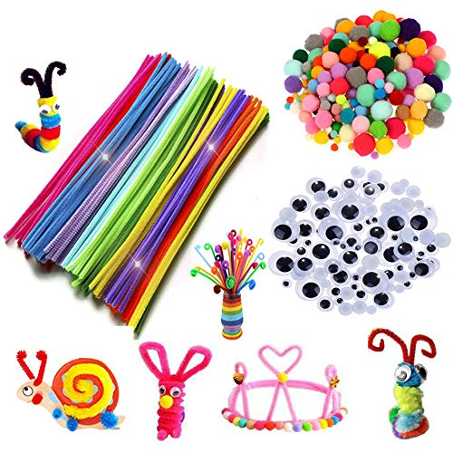 Tukcherry Craft Pompons Multicolores Rondes Fils Chenille Enfant Artisanat Fabrication Loisirs Fournitures DIY Creative Décoration Couleurs Assorties (Kits de Loisirs créatifs)