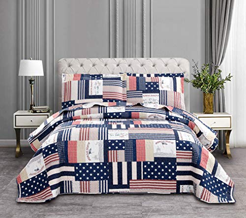 Ycosy Navy Blue Plaid Bedspreads King Reversible American Flag Quilt Square Stripes National Color Stars Summer Blanket Throw Tartan Coverlet Adult Bedspread for All Season -1 Quilt +2 Pillow Shams