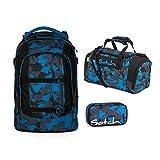 Satch Pack Schulrucksack-Set 3tlg: Schulrucksack, Schlamperbox und Sporttasche (Blue Triangle)