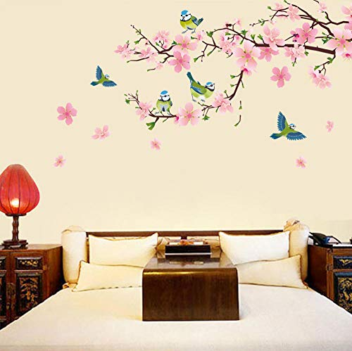 QIANWEI New Pink Peach Blossoms Birds Flower Wall Sticker Aniaml Living Room TV wall Decoration Nature Wall Posters Glass Decal Art