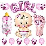 JKJF Set de decoración para fiesta de niñas, globo gigante, botella de chupete, pies, globos, alfabeto, globos y confeti, globos para bebés, nacimiento, fiesta de cumpleaños