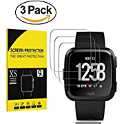 [3-Pcs] for Fitbit Versa Screen Protector, Taball[Crystal Clear][No-Bubble][Scratch Resist][9H Hardness] Waterproof Tempered Glass Screen Protector for Fitbit Versa Smartwatch