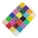 2400pcs 24 Colores Mini Fuse Beads Kit de Abalorios Craft con Clip de Papel de Hierro Llavero Broche de Langosta Tableros de Clavijas para niños Adultos DIY Handcraft