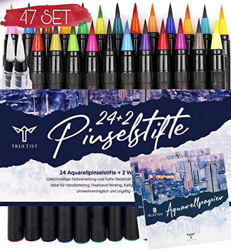 Truetist Handlettering Stifte 47er Set | 24 kräftige Aquarell Farben, 16 Aquarellpapiere, 2 Wassertankpinsel, 5 Schablonen | Stifte mit authentischer Pinselspitze | Kalligraphie, Brush Pen Set