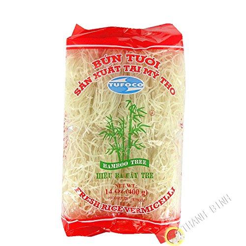 Bamboo Tree Spaghetti di riso. Spaghetti vietnamiti popolari e facili da preparare. Qualità premium. Contenuto: 400 g.