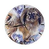 Mailine Pekinés Lindo Encanto Perro Pintura Mini temática Patrón Impreso Diseño Reloj de Pared Cama de la Sala Comedor Dormitorio Escritorio en el hogar Sin tictac