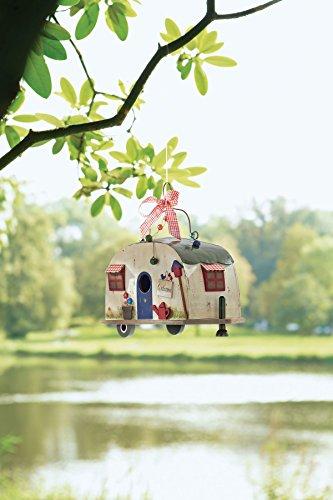 Vogelhaus Wohnwagen Camper zum Hängen Holz Blechdach - 5