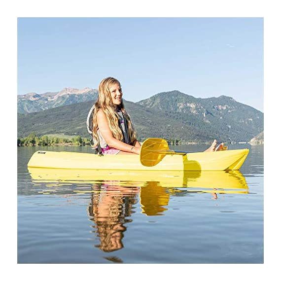 Lifetime 6 Foot Yellow Youth Kayak 6 Ergonomic cockpit design enhances balance and motor skills Molded finger handles on each side of the kayak Reverse chine for enhanced stability with swim-up step