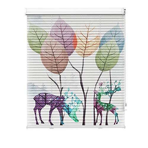 Mini Finestra Persiane per Balcone Villa Clubhouse - Lega di Alluminio Easy Fit Tende Bianche di Formati Personalizzati, Stampati Deer Design (Size : 70x220cm)