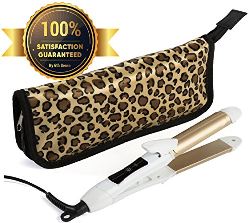 6th Sense 2 in 1 Mini Flat Iron Curling Iron, Travel Hair Straightener, Dual Voltage 374 Degree Temperature Nano Titanium, 1 Inch - Insulated Carry Bag Included