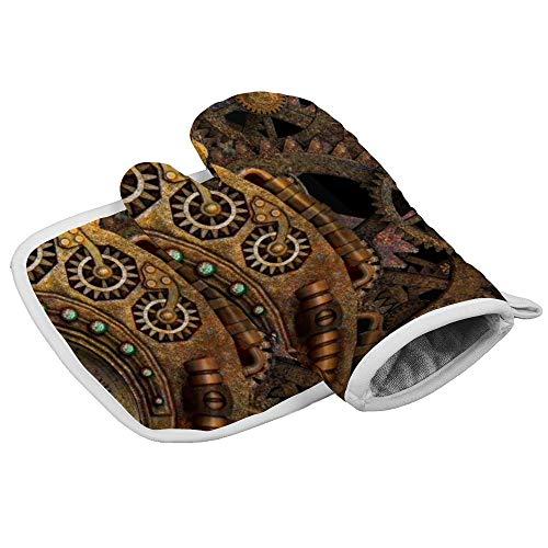 Steampunk Gear Time Machine Clockwork Bronze Vintage Maschine Retro Home Ofenhandschuhe Mikrowellenhandschuhe Grillhandschuhe Küche Kochen Backen Hitzebeständige Handschuhe Kombination