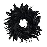 "Natural Schlappen Feather Holiday Wreath - 15-18"" Black Farmhouse Autumn or Fall Decor"