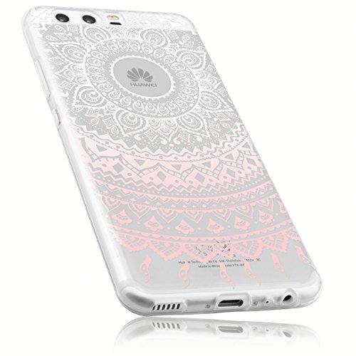 mumbi Hülle kompatibel mit Huawei P10 Handy Case Handyhülle dünn mit Motiv Mandala rosa, transparent