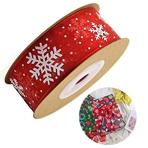 Gsyamh Nastro in Poliestere Decorativo Fiocco di Neve Nastro in Gros-Grain Natale in Poliestere Decorazione Nastro Fiocco di Neve Adatto Come La Migliore Decorazione per Le Feste di Natale (Rosso)