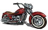 Vinilo Decorativo Pared Moto Roja | Varias Medidas 100x63cm | Multicolor | Pegatina Adhesiva Decorativa de Diseño Elegante