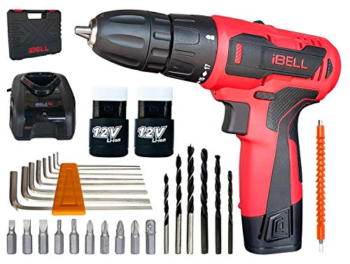 iBELL Cordless Drill Driver CD12-74, 12-Volts (2 Battery+BMC Box+Extra 32 Accesories) - 6 Months...
