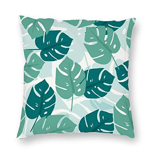 Funda de almohada sin marca de doble cara impresión de dibujos animados tropicales hojas verdes cubierta de cojín corto de felpa con cremallera oculta cómoda cuadrada para salón sofá cocina 18 x 18 pulgadas