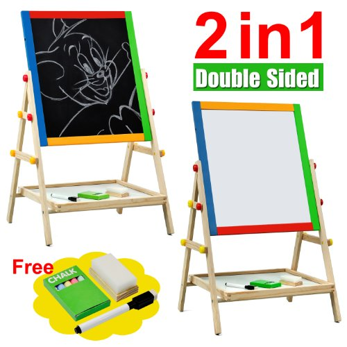 Popamazing Kids 2 In 1 Black / White Wooden Easel Chalk Drawing Board For Child Educational