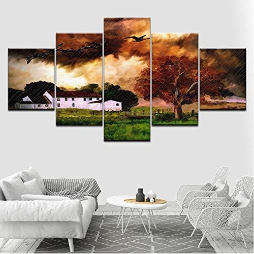 Wuyii Wilde gans vliegen in de regen 5 stuks Hd Wallpapers kunstdruk op canvas moderne poster modulaire kunst schilderij voor woonkamer decoratie 20 x 35 cm x 2/20 x 45 cm x 2/20 x 55 cm x 1
