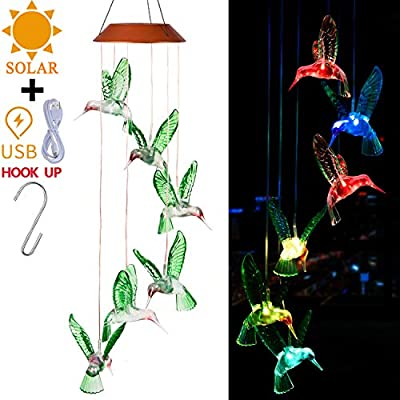 Solar Hummingbird LED Wind Chimes Outdoor With Hook- Solar Powered and USB Charging, Waterproof Changing Light Color Mobile Romantic Hummingbirds Windchime Gifts For Mom, Home Decor, Garden Decoration
