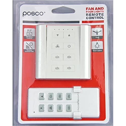 Posco Plastic 4 Lights and 1 Fan Switch with Speed Regulation Remote Control, Multicolour