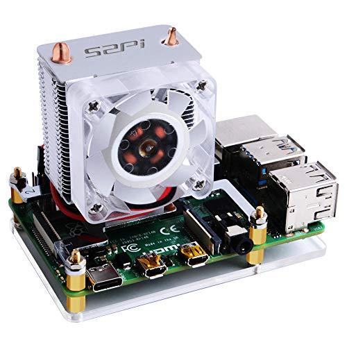 ZHI BEI Lcrzbh Raspberry Pi & Orange Pi Ventilador de enfriamiento de CPU de la Torre de Hielo V2.0 Súper Calor disipación Leds para RPI 3B + / 4B Tablero de Desarrollo de Alto Rendimiento