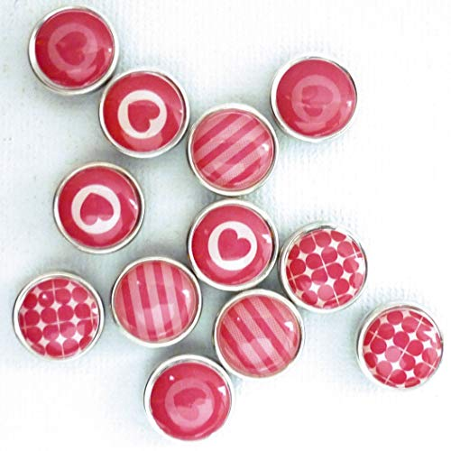 Pw International Graines créatives - 12 mini magneti in resina epossidica, 12 mm, rosa