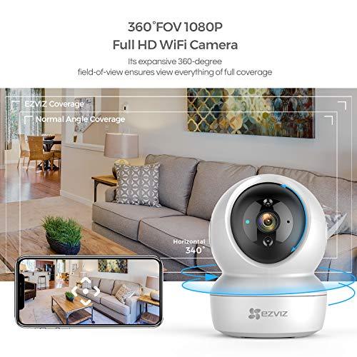 EZVIZ C6N WLAN IP Kamera Überwachungskamera Innen 1080P mit 2-Wege-Audio, 360° Abdeckung, IR Nachtsicht (bis zu 11m), MicroSD-Steckplatz (bis 256 GB) für Home und Baby Monitor mit Bewegungserkennung