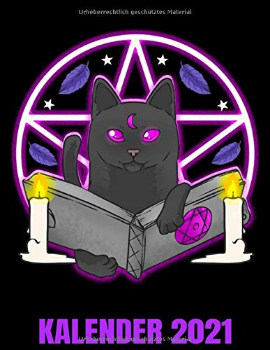 Kalender 2021: Schwarze Katze Mit Hexenbuch Und Pentagramm Kalender Terminplaner Buch - Jahreskalender - Wochenkalender - Jahresplaner
