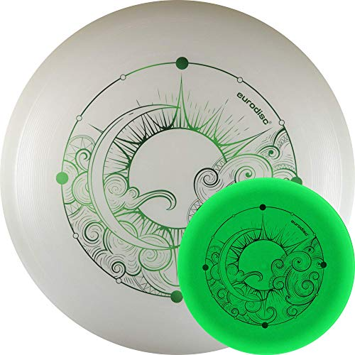 eurodisc 175g 100% Organic SUPERGlow Ultimate Frisbee Flying Nightglow Disc Glow in The Dark no LED no batterie Needed Play at Night (Green)