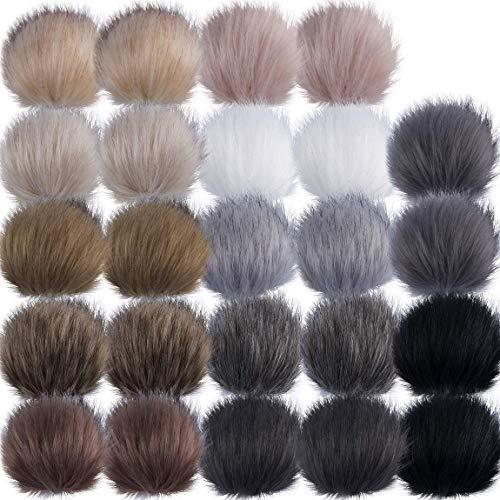 GIEMSON Fur Pom Pom Ball, Faux Fox Fur Fluffy Pom Pom Balls with Elastic Loop for Hats Shoes Scarves Bags Gift 24 Packs