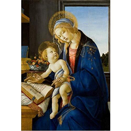 Pintura Al Óleo La Virgen Y El Niño Pinturas Sobre Lienzo En La Pared El Libro Pinturas Famosas Reproducción Decoración-50cmx65cm