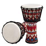 Tambor parlante Africano Tambor Africano portátil de 8 Pulgadas Djembe Djembe con Patrones de Arte de Colores Instrumento Musical de percusión (Color : Red, Size : One Size)