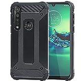 Weideworld Funda para Motorola Moto G8 Plus + Cristal Templado, Robusta Armadura Híbrida TPU + PC [Doble Capa] Carcasa de Protección Hibrida Armadura Funda para Motorola Moto G8 Plus, Negro